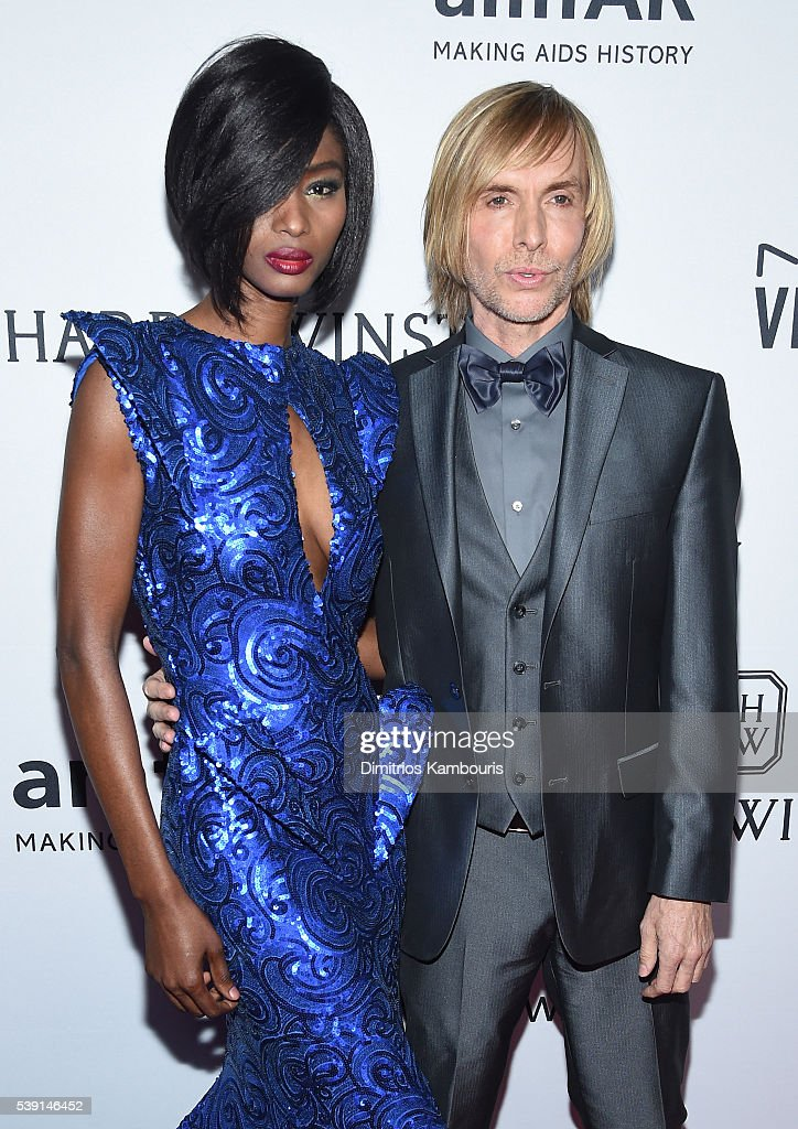 Model Hawa Diawara and designer Marc Bouwer attend the 7th Annual amfAR Inspiration Gala at Skylight at Moynihan Station on June 9 2016 in New York...