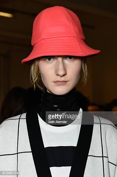 A model headwear detail seen backstage ahead of the Iceberg show during Milan Fashion Week Fall/Winter 2016/17 on February 26 2016 in Milan Italy
