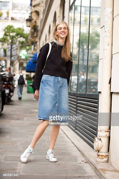 Model Hedvig Palm exits the Jean Paul Gaultier show on July 8 2015 in Paris France
