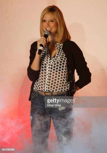 Model Heidi Klum a cohost and judge of 'Germany's Next Topmodel' appears during a taping of the television show at the Fashion Show mall January 24...