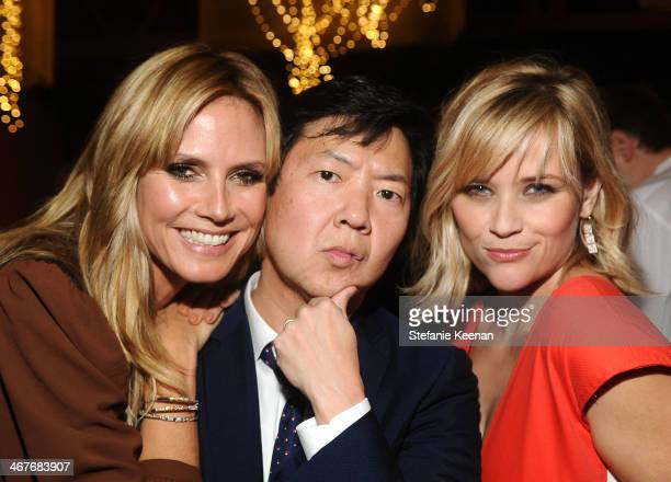 Model Heidi Klum actor Ken Jeong and cohost Reese Witherspoon attend Hollywood Stands Up To Cancer Event with contributors American Cancer Society...