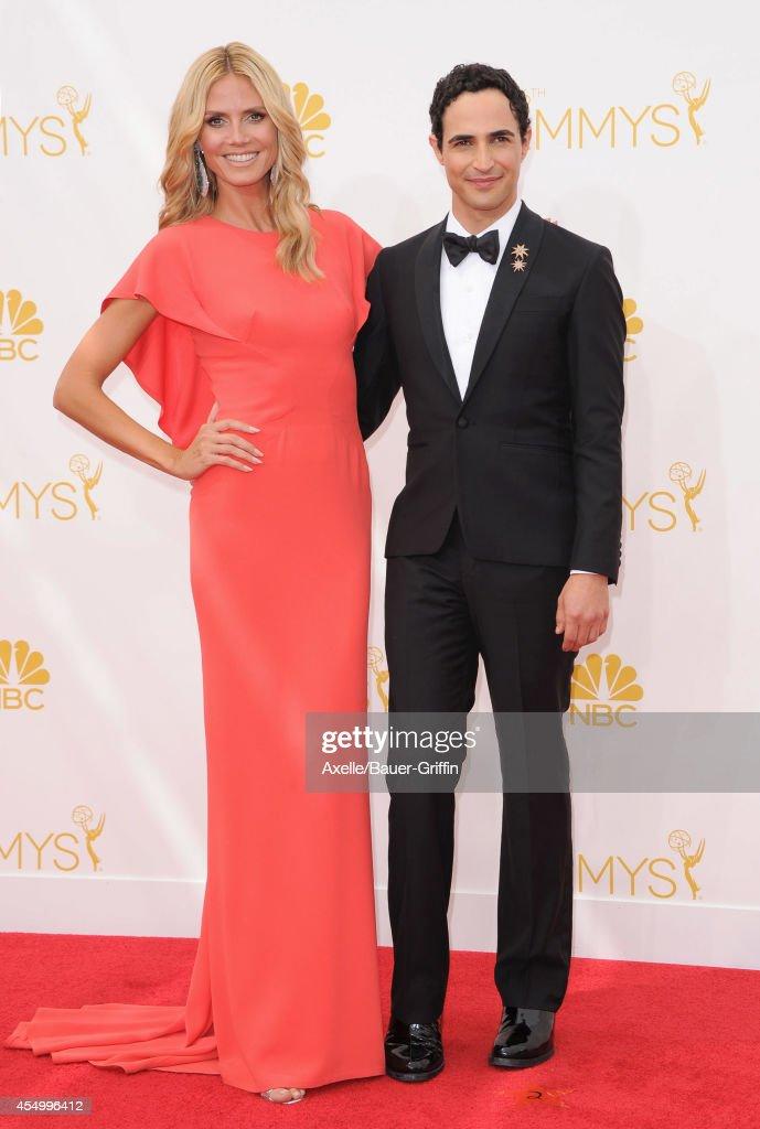 Model Heidi Klum and fashion designer Zac Posen arrive at the 66th Annual Primetime Emmy Awards at Nokia Theatre LA Live on August 25 2014 in Los...