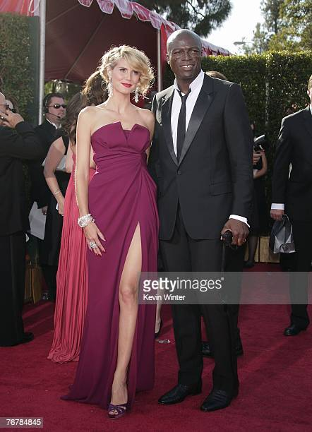 Model Heidi Klum and husband musician Seal arrive at the 59th Annual Primetime Emmy Awards at the Shrine Auditorium on September 16 2007 in Los...