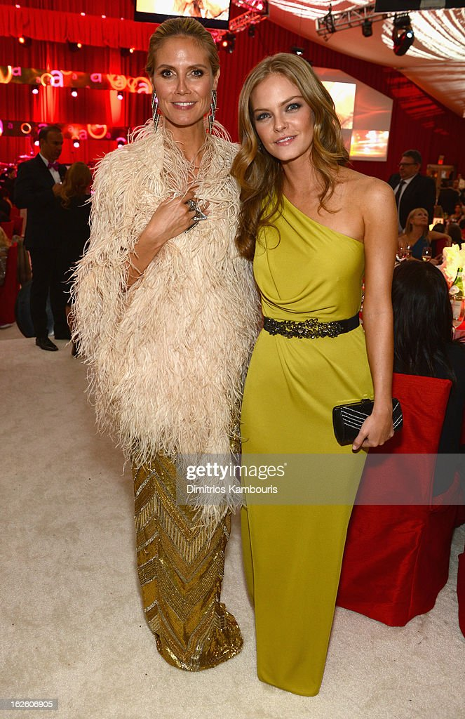 Model Heidi Klum and Jessica Perez attend the 21st Annual Elton John AIDS Foundation Academy Awards Viewing Party at West Hollywood Park on February 24, 2013 in West Hollywood, California.