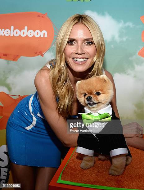 Model Heidi Klum and Jiff attend Nickelodeon's 2016 Kids' Choice Awards at The Forum on March 12 2016 in Inglewood California