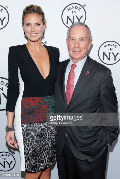 Model Heidi Klum and New York Mayor Michael Bloomberg attend the 8th Annual 'Made In NY Awards' at Gracie Mansion on June 10 2013 in New York City