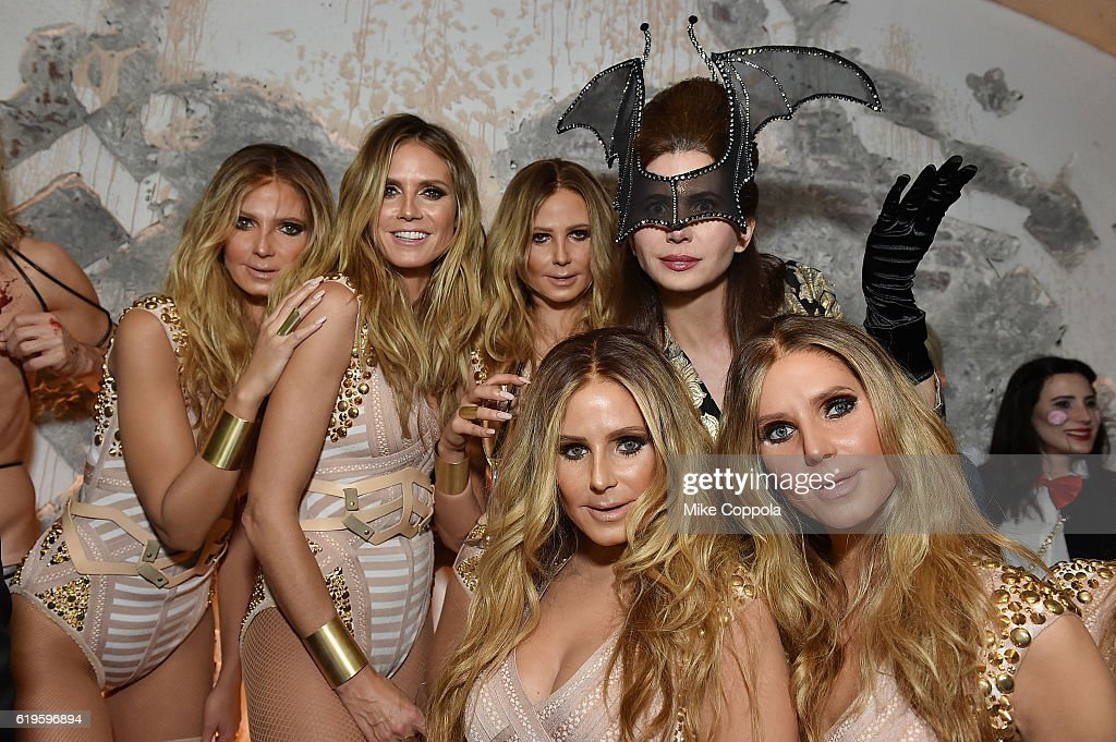 Model Heidi Klum (2rd L) and producer Desiree Gruber attend Heidi Klum's 17th Annual Halloween Party sponsored by SVEDKA Vodka at Vandal on October 31, 2016 in New York City.