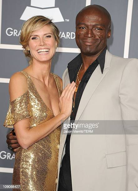 Model Heidi Klum and singer Seal arrive at The 53rd Annual GRAMMY Awards held at Staples Center on February 13 2011 in Los Angeles California