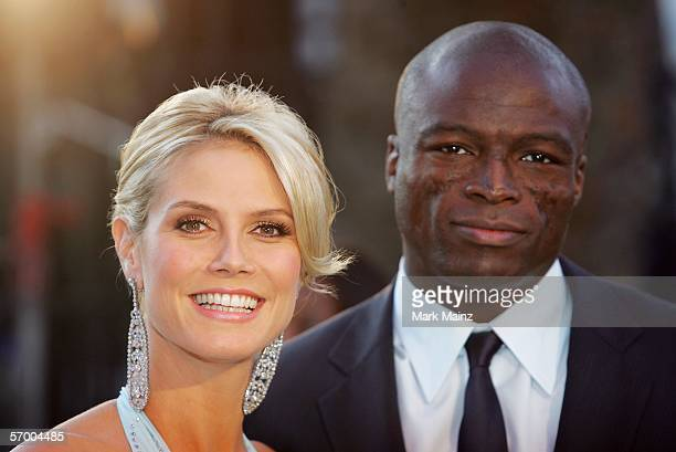 Model Heidi Klum and singer Seal arrive at the Vanity Fair Oscar Party at Mortons on March 5 2006 in West Hollywood California