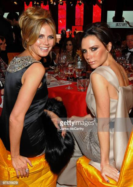 WEST HOLLYWOOD CA MARCH 07 *EXCLUSIVE ACCESS PREMIUM RATES APPLY* Model Heidi Klum and Victoria Beckham attend the 18th Annual Elton John AIDS...