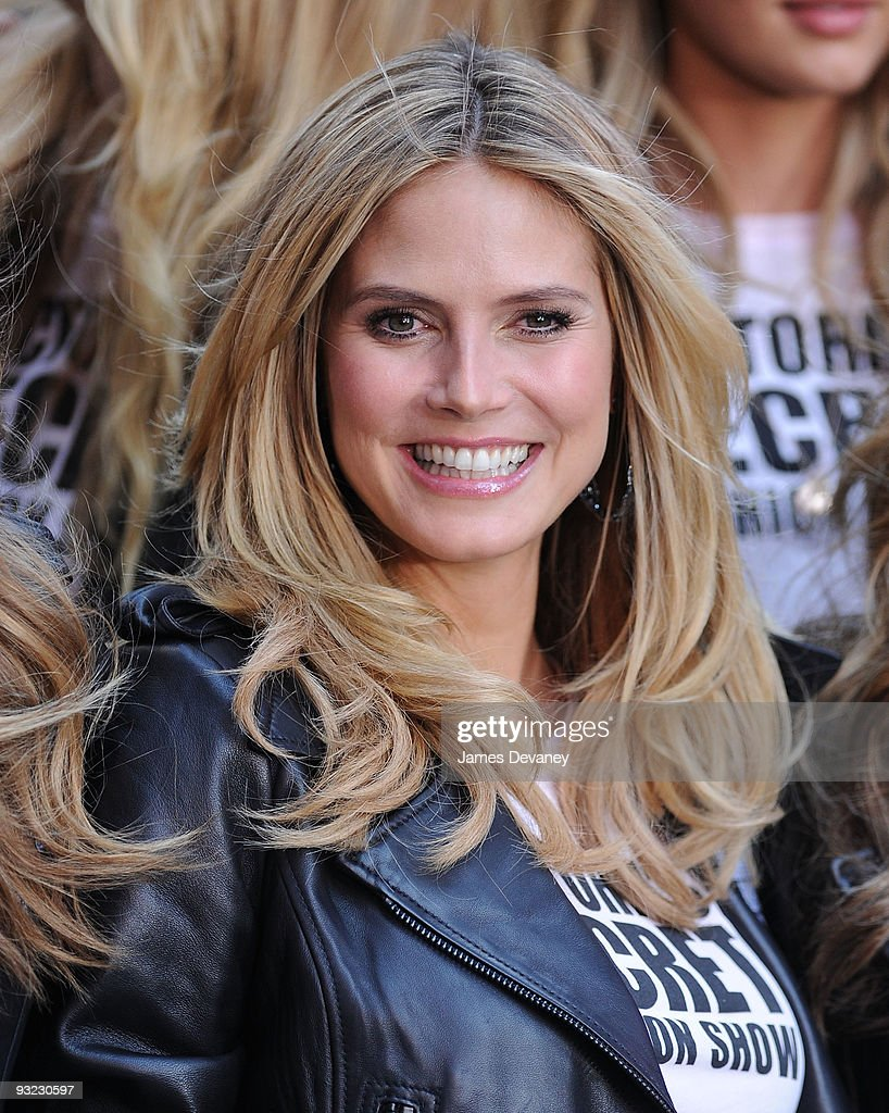 Model Heidi Klum and Victoria's Secret Supermodels take over Military Island, Times Square on November 18, 2009 in New York City.