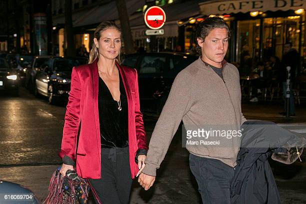 Model Heidi Klum and Vito Schnabel are seen on Boulevard Saint Germain as they leave the 'Brasserie Lipp' restaurant on October 21 2016 in Paris...