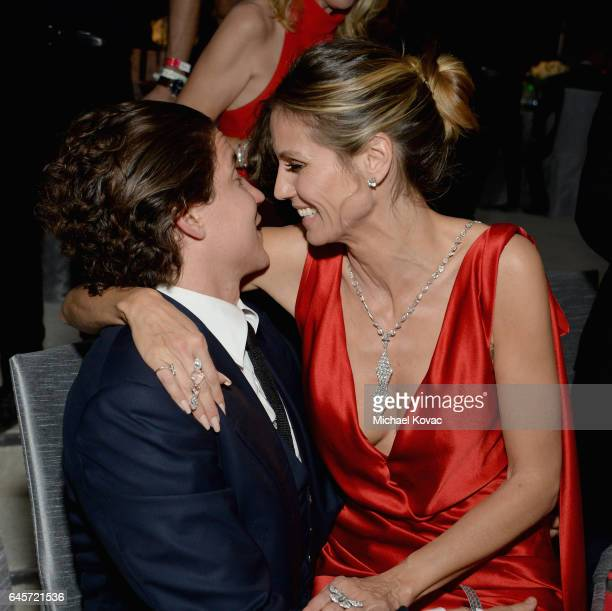 Model Heidi Klum and Vito Schnabel attend the 25th Annual Elton John AIDS Foundation's Academy Awards Viewing Party at The City of West Hollywood...