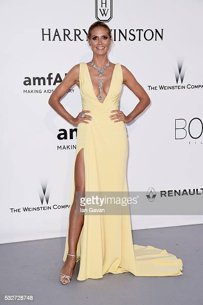 Model Heidi Klum arrives at amfAR's 23rd Cinema Against AIDS Gala at Hotel du CapEdenRoc on May 19 2016 in Cap d'Antibes France