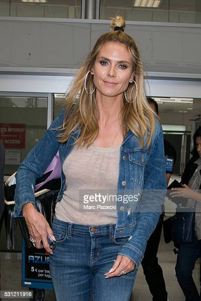 Model Heidi Klum arrives at Nice airport during the annual 69th Cannes Film Festival at Nice Airport on May 13 2016 in Nice France