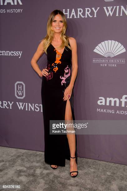 Model Heidi Klum arrives at the 19th Annual amfAR New York Gala at Cipriani Wall Street on February 8 2017 in New York City
