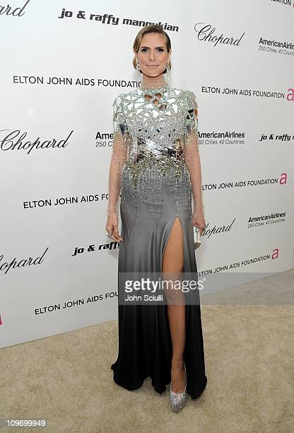 Model Heidi Klum arrives at the 19th Annual Elton John AIDS Foundation Academy Awards Viewing Party at the Pacific Design Center on February 27 2011...