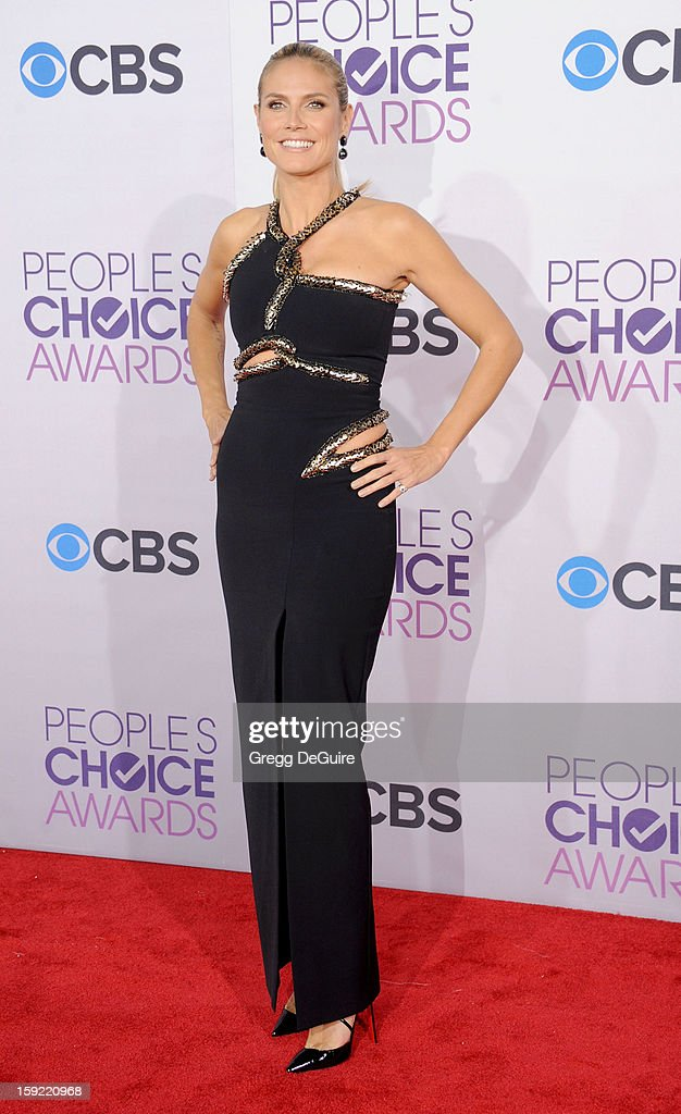 Model Heidi Klum arrives at the 2013 People's Choice Awards at Nokia Theatre L.A. Live on January 9, 2013 in Los Angeles, California.