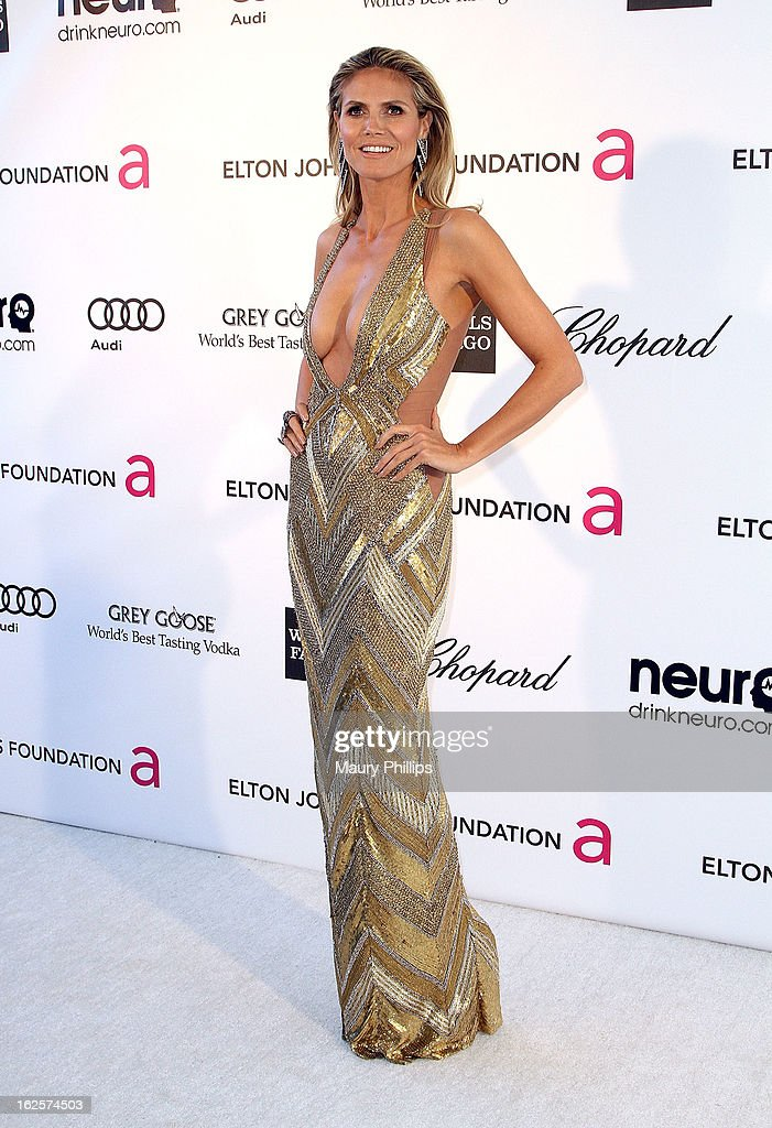 Model Heidi Klum arrives at the 21st Annual Elton John AIDS Foundation Academy Awards Viewing Party at Pacific Design Center on February 24, 2013 in West Hollywood, California.