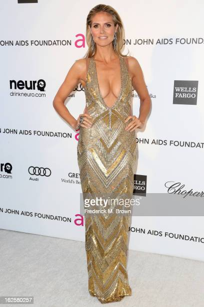 Model Heidi Klum arrives at the 21st Annual Elton John AIDS Foundation's Oscar Viewing Party on February 24 2013 in Los Angeles California