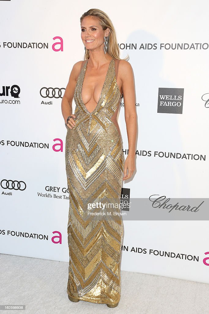 Model Heidi Klum arrives at the 21st Annual Elton John AIDS Foundation's Oscar Viewing Party on February 24, 2013 in Los Angeles, California.