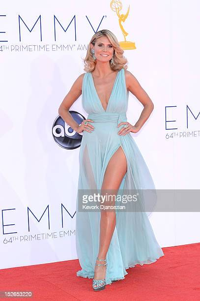 Model Heidi Klum arrives at the 64th Annual Primetime Emmy Awards at Nokia Theatre LA Live on September 23 2012 in Los Angeles California