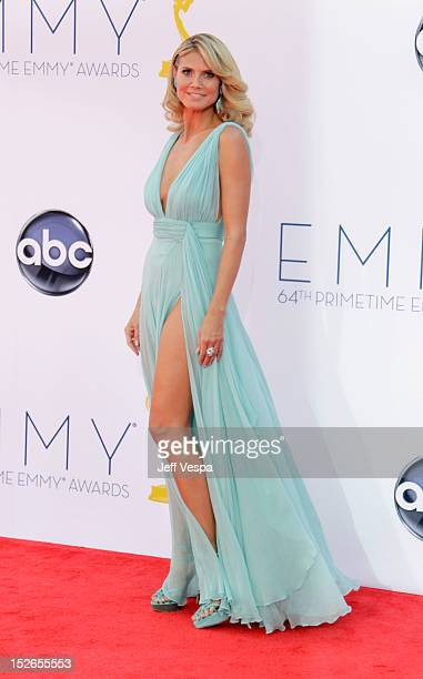 Model Heidi Klum arrives at the 64th Primetime Emmy Awards at Nokia Theatre LA Live on September 23 2012 in Los Angeles California