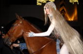 Model Heidi Klum arrives dressed as Lady Godiva on horseback at her Halloween party at Lot 61