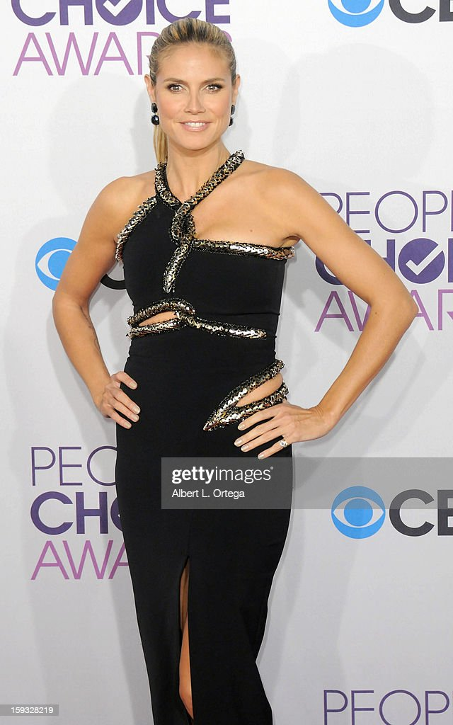Model Heidi Klum arrives for the 34th Annual People's Choice Awards - Arrivals held at Nokia Theater at L.A. Live on January 9, 2013 in Los Angeles, California.