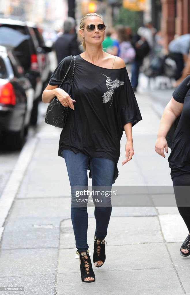 Model <a gi-track='captionPersonalityLinkClicked' href=/galleries/search?phrase=Heidi+Klum&family=editorial&specificpeople=178954 ng-click='$event.stopPropagation()'>Heidi Klum</a> as seen on July 31, 2013 in New York City.