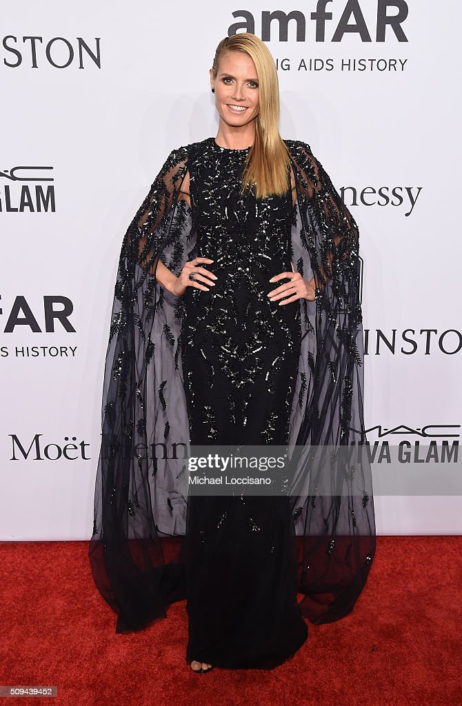 Model <a gi-track='captionPersonalityLinkClicked' href=/galleries/search?phrase=Heidi+Klum&family=editorial&specificpeople=178954 ng-click='$event.stopPropagation()'>Heidi Klum</a> attends 2016 amfAR New York Gala at Cipriani Wall Street on February 10, 2016 in New York City.