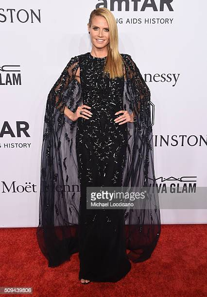 Model Heidi Klum attends 2016 amfAR New York Gala at Cipriani Wall Street on February 10 2016 in New York City