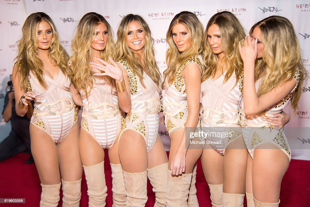 Model Heidi Klum (3rd from Left) attends Heidi Klum's 17th Annual Halloween party at Vandal on October 31, 2016 in New York City.