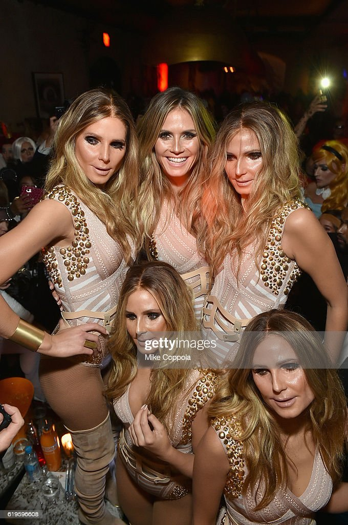 Model Heidi Klum (Back row center) attends Heidi Klum's 17th Annual Halloween Party sponsored by SVEDKA Vodka at Vandal on October 31, 2016 in New York City.