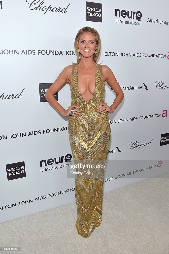 Model <a gi-track='captionPersonalityLinkClicked' href=/galleries/search?phrase=Heidi+Klum&family=editorial&specificpeople=178954 ng-click='$event.stopPropagation()'>Heidi Klum</a> attends Neuro at 21st Annual Elton John AIDS Foundation Academy Awards Viewing Party at West Hollywood Park on February 24, 2013 in West Hollywood, California.