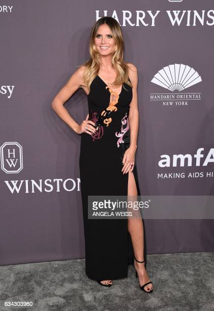 Model Heidi Klum attends the 19th annual amfAR's New York Gala to kick off NY Fashion Week at Cipriani Wall Street on February 8 2017 in New York...