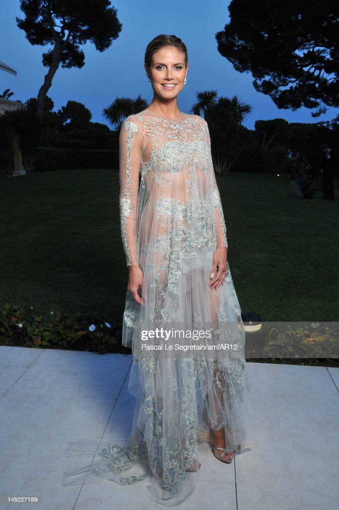 MOdel <a gi-track='captionPersonalityLinkClicked' href=/galleries/search?phrase=Heidi+Klum&family=editorial&specificpeople=178954 ng-click='$event.stopPropagation()'>Heidi Klum</a> attends the 2012 amfAR's Cinema Against AIDS during the 65th Annual Cannes Film Festival at Hotel Du Cap on May 24, 2012 in Cap D'Antibes, France.