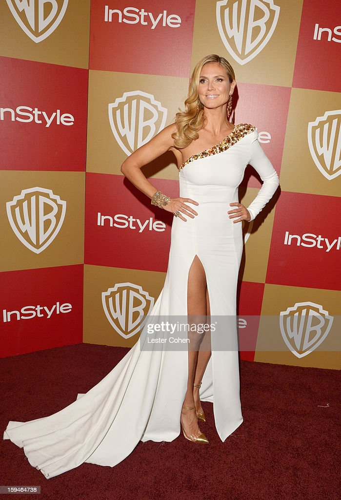 Model Heidi Klum attends the 2013 InStyle and Warner Bros. 70th Annual Golden Globe Awards Post-Party held at the Oasis Courtyard in The Beverly Hilton Hotel on January 13, 2013 in Beverly Hills, California.