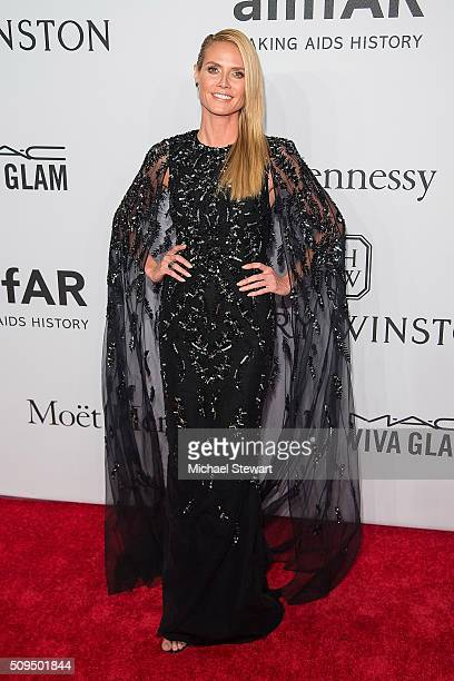 Model Heidi Klum attends the 2016 amfAR New York Gala at Cipriani Wall Street on February 10 2016 in New York City