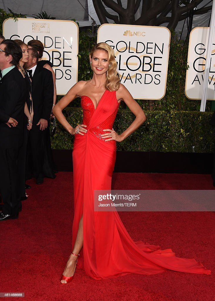 Model Heidi Klum attends the 72nd Annual Golden Globe Awards at The Beverly Hilton Hotel on January 11 2015 in Beverly Hills California
