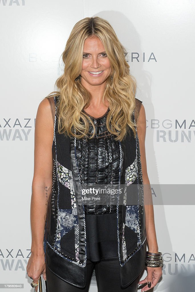 Model <a gi-track='captionPersonalityLinkClicked' href=/galleries/search?phrase=Heidi+Klum&family=editorial&specificpeople=178954 ng-click='$event.stopPropagation()'>Heidi Klum</a> attends the BCBGMAXAZRIA Spring 2014 fashion show at The Theatre Lincoln Center on September 5, 2013 in New York City.