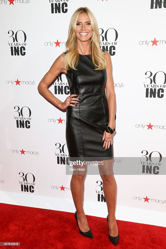 Model Heidi Klum attends the celebration for 30 Years of INC Collection at IAC Building on September 10 2015 in New York City