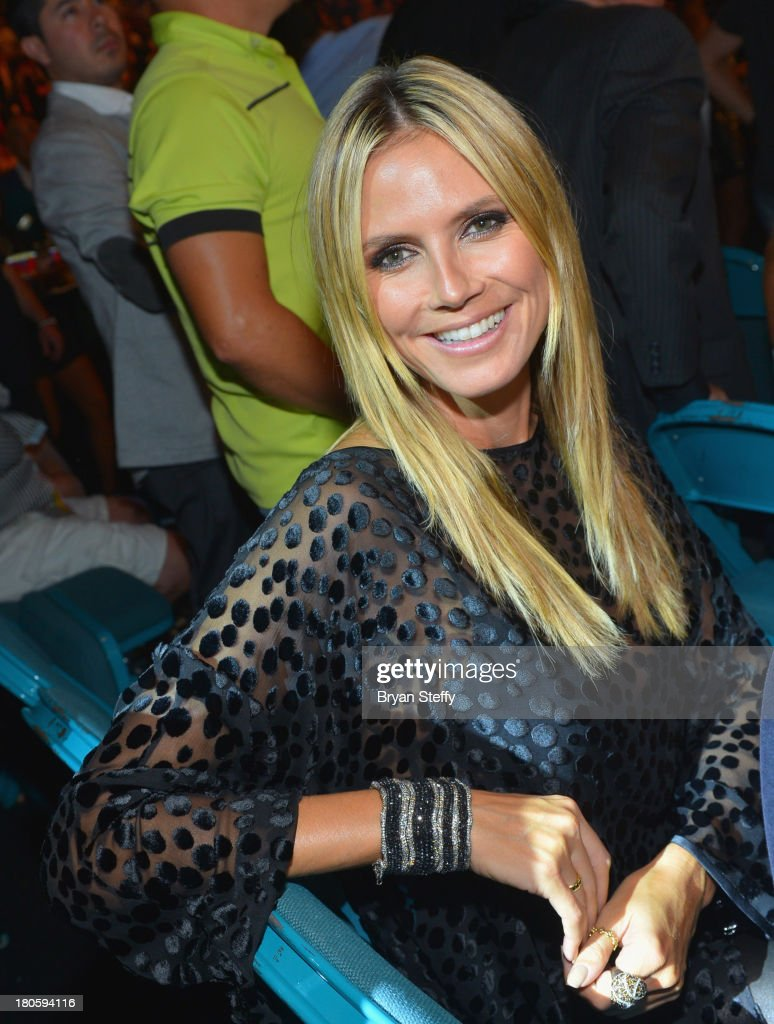 Model <a gi-track='captionPersonalityLinkClicked' href=/galleries/search?phrase=Heidi+Klum&family=editorial&specificpeople=178954 ng-click='$event.stopPropagation()'>Heidi Klum</a> attends the Floyd Mayweather Jr. vs. Canelo Alvarez boxing match at the MGM Grand Garden Arena on September 14, 2013 in Las Vegas, Nevada.