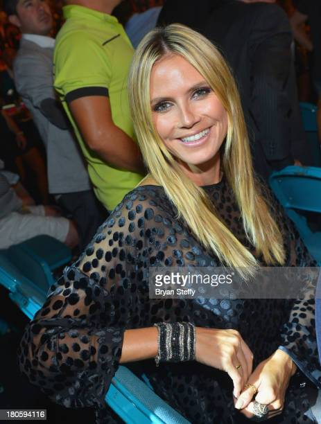 Model Heidi Klum attends the Floyd Mayweather Jr vs Canelo Alvarez boxing match at the MGM Grand Garden Arena on September 14 2013 in Las Vegas Nevada
