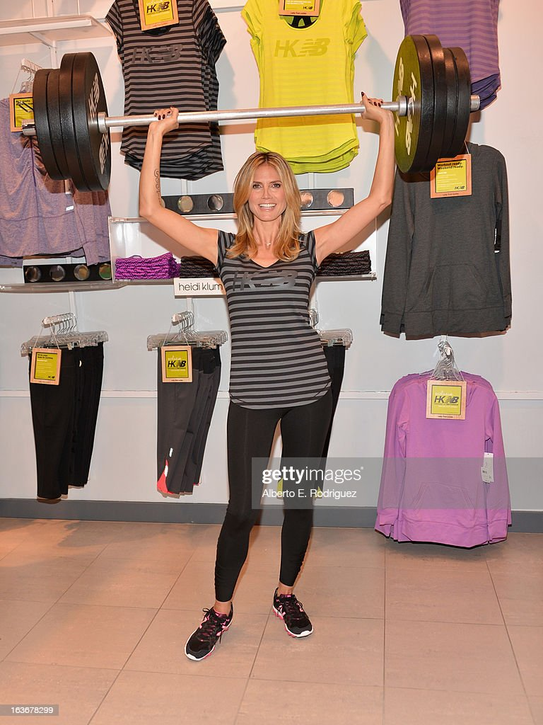 Model <a gi-track='captionPersonalityLinkClicked' href=/galleries/search?phrase=Heidi+Klum&family=editorial&specificpeople=178954 ng-click='$event.stopPropagation()'>Heidi Klum</a> attends the launch of her new collection '<a gi-track='captionPersonalityLinkClicked' href=/galleries/search?phrase=Heidi+Klum&family=editorial&specificpeople=178954 ng-click='$event.stopPropagation()'>Heidi Klum</a> for New Balance' at Lady Foot Locker on March 14, 2013 in Culver City, California.