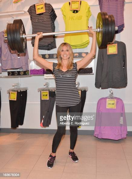 Model Heidi Klum attends the launch of her new collection 'Heidi Klum for New Balance' at Lady Foot Locker on March 14 2013 in Culver City California