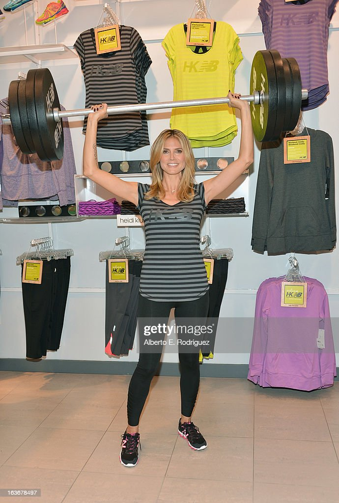 Model Heidi Klum attends the launch of her new collection 'Heidi Klum for New Balance' at Lady Foot Locker on March 14, 2013 in Culver City, California.