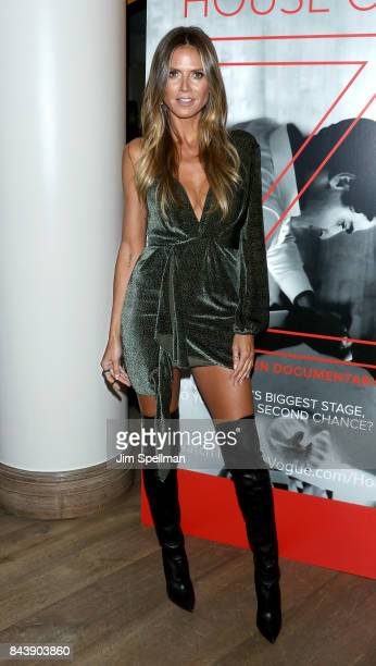 Model Heidi Klum attends the premiere of 'House of Z' hosted by Brooks Brothers with The Cinema Society at Crosby Street Hotel on September 7 2017 in...