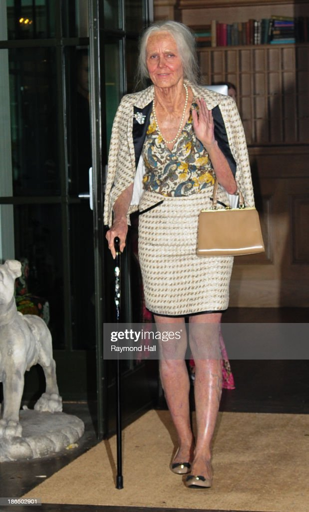 Model Heidi Klum is seen dressed up as an old woman coming out of her hotel on October 31, 2013 in New York City.