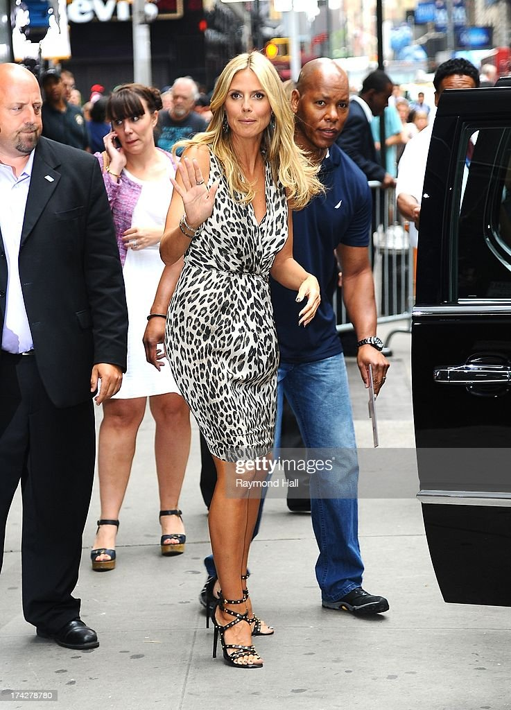 Model Heidi Klum is seen outside 'Good Morning America' on July 23, 2013 in New York City.